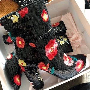 Black Floral Sequin Mid Ankle Boots - Like New